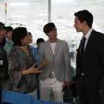 Janet Yang with D. Henney on set